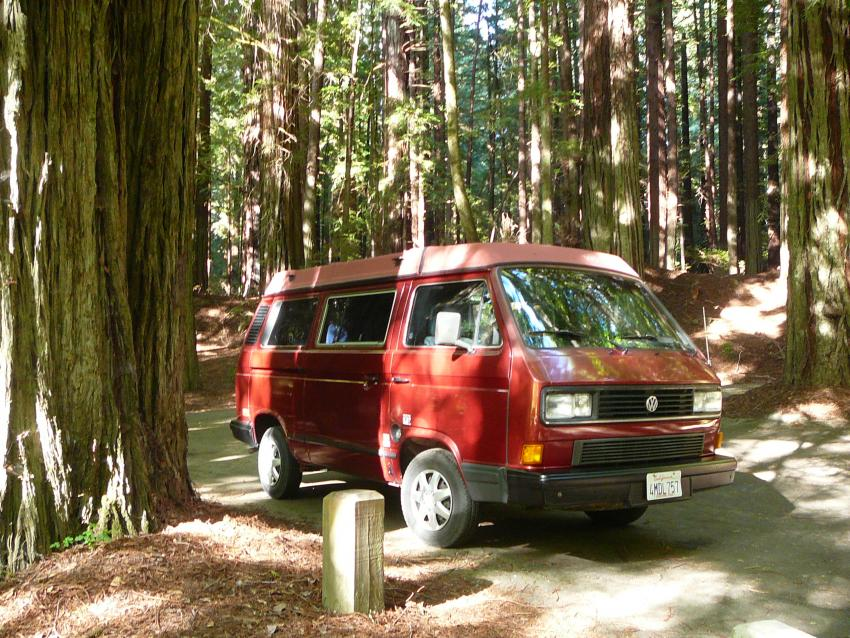 The VW camper van that we rented for our road trip through California.